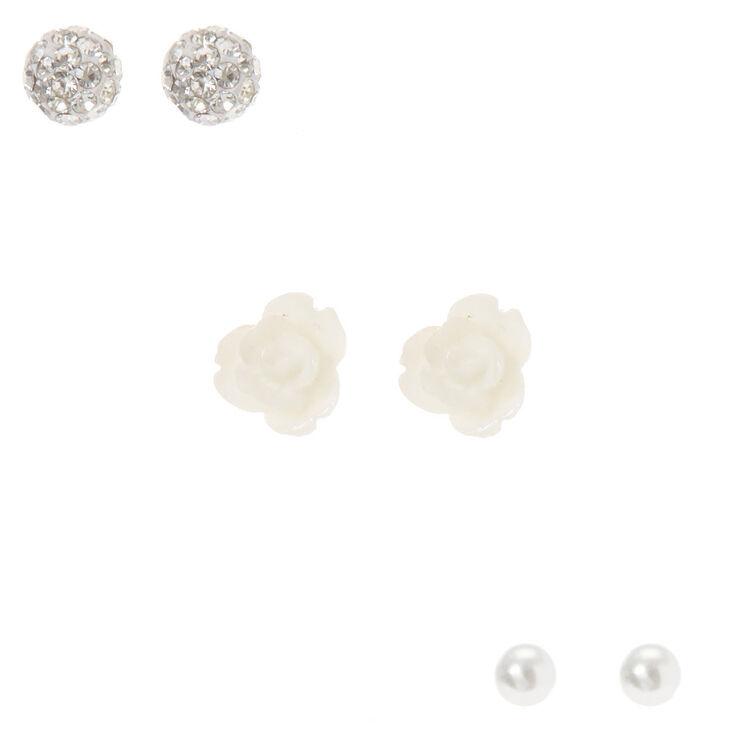 Floral Stud Earrings - White, 3 Pack,