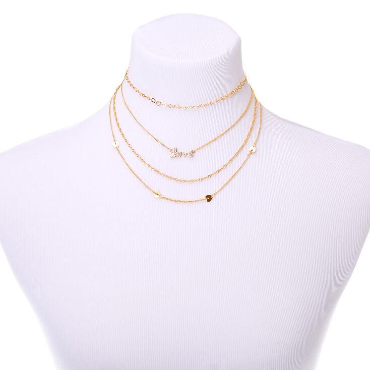Gold Eternal Love Multi Strand Necklace,