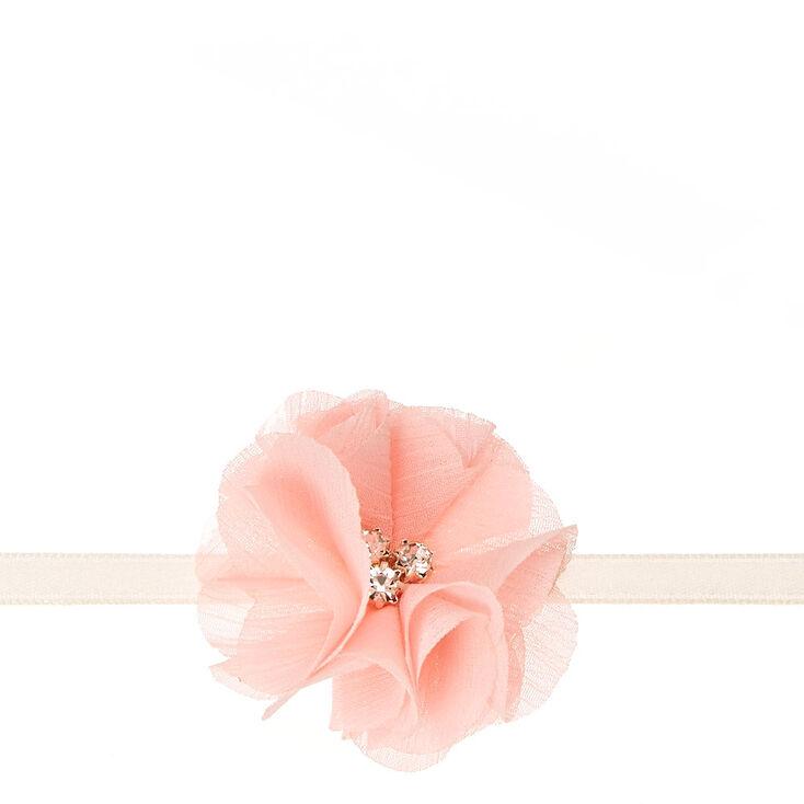 Blush Pink Satin & Tulle Flower Choker Necklace,