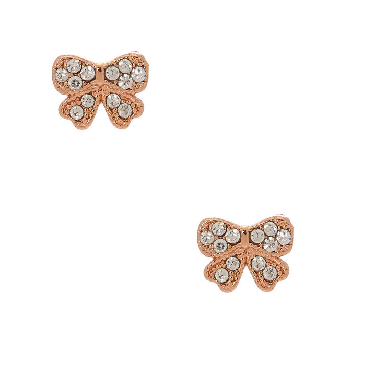 18kt Rose Gold Plated Bow Stud Earrings,