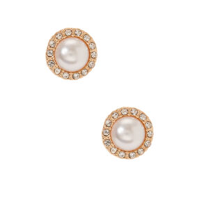 Gold Embellished Halo Pearl Stud Earrings,