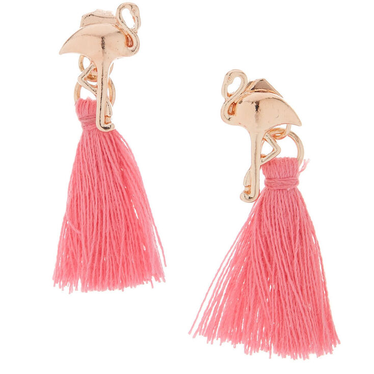 Pink Flamingo Front & Back Tassel Earrings,