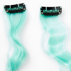 Curly Faux Hair Clip In Extensions - Mint Green, 2 Pack,