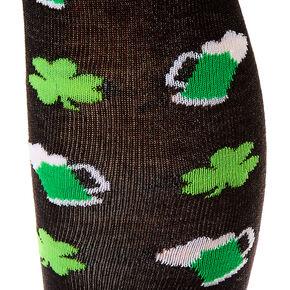 Beer & Shamrocks Over the Knee Socks - Black,