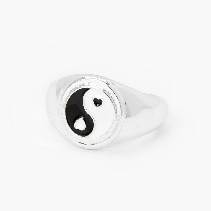 Silver Yin Yang Heart Ring,