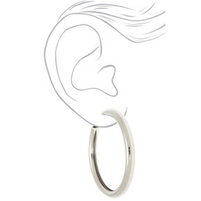 Silver 80MM Tube Hoop Earrings,