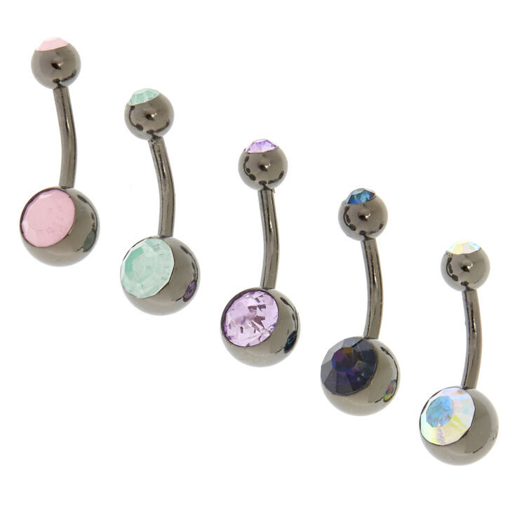 14G Hematite Pastel Gem Belly Bars,