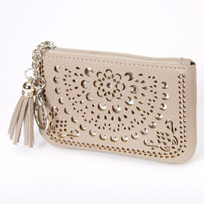 Filigree Cutout Coin Purse - Gray,