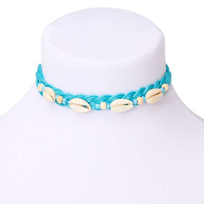 Bead Cowrie Shell Braided Choker Necklace - Turquoise,