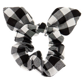 Gingham Knotted Bow Hair Scrunchie - Black,