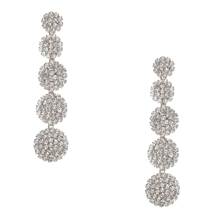 Faux Crystal Linear Circle Drop Earrings,