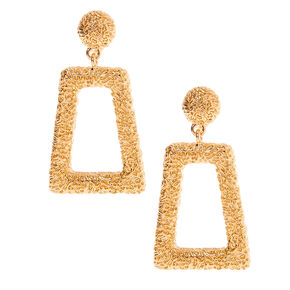 "Gold 2"" Rectangle Textured Clip On Drop Earrings,"