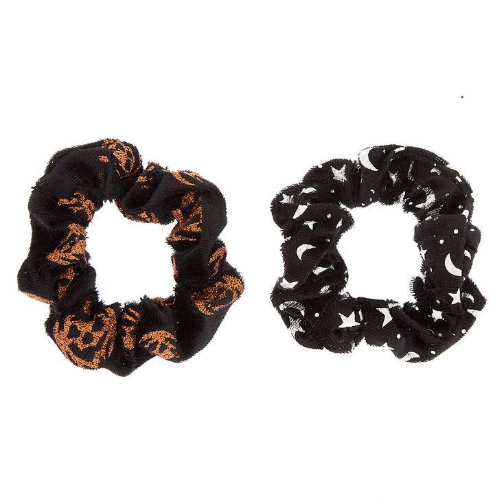 Velvet Halloween Scrunchies - Black, 2 Pack,