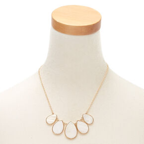 Gold Shell Teardrop Jewelry Set - White, 2 Pack,