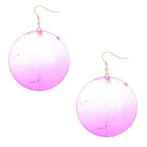"""Gold 2"""" Round Shell Drop Earrings - Pink,"""