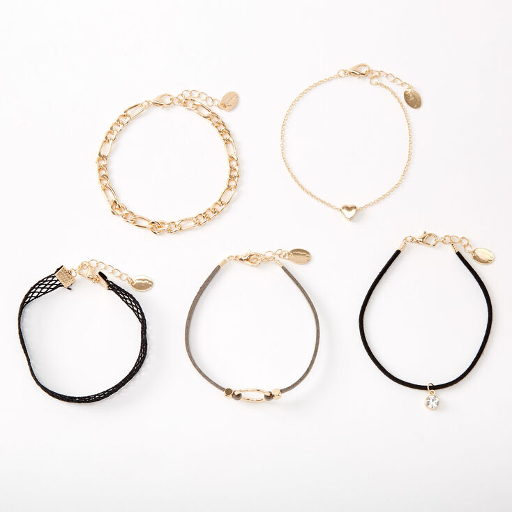 Gold Fishnet Chain Mixed Bracelets - 5 Pack,