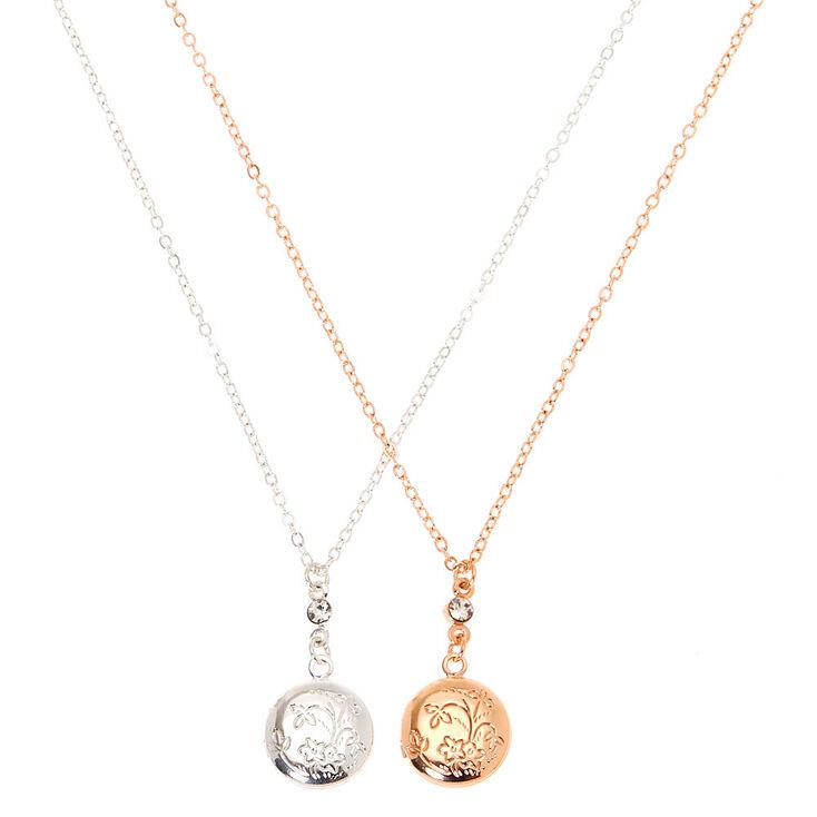 Mixed Metal Bouquet Locket Pendant Necklaces - 2 Pack,