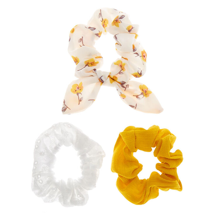Small Country Eyelet Hair Scrunchies - Yellow, 3 Pack,