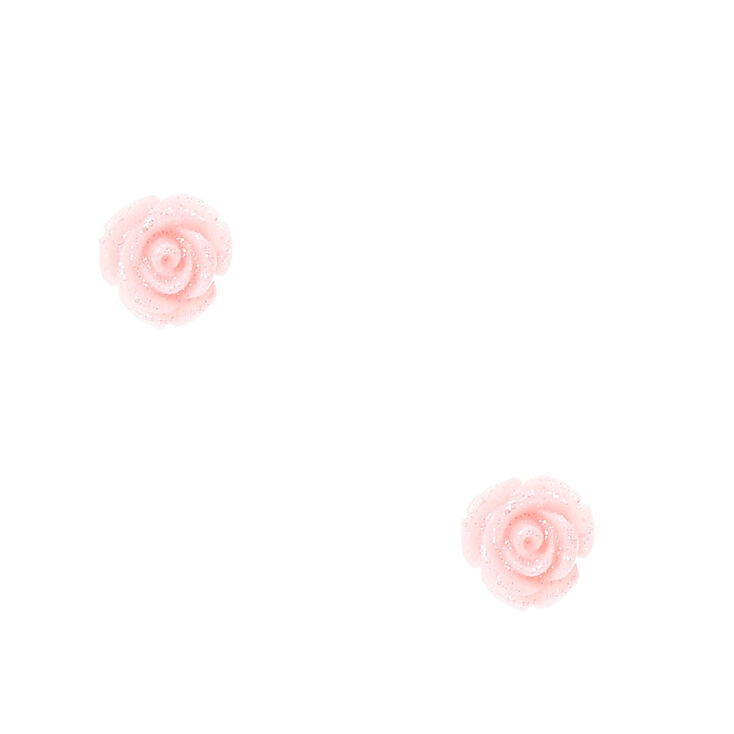 Pink Glittered Carved Rose Stud Earrings,