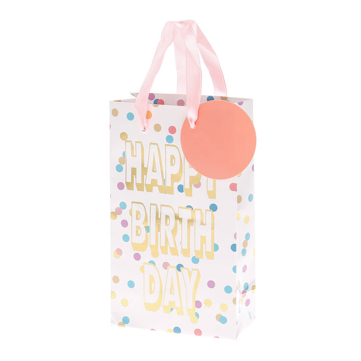 Pastel Polka Dot Happy Birthday Small Gift Bag