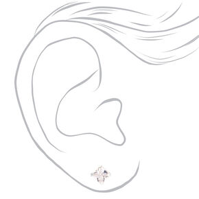 Sterling Silver Cubic Zirconia Square Stud Earrings - 3MM, 4MM, 5MM,