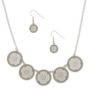 Silver Filigree Medallion Jewelry Set - 2 Pack,