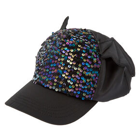Bat Wings Sequin Baseball Cap - Black,