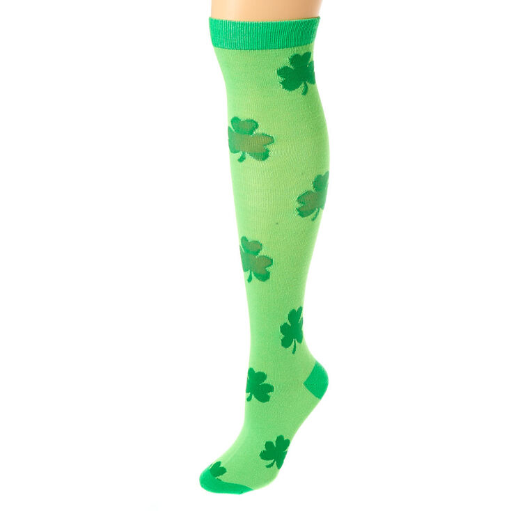 Neon Shamrock Knee High Socks - Green,