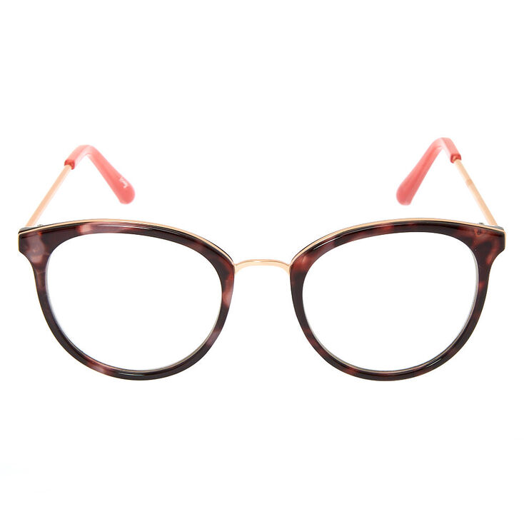 Rose Gold Marbled Round Clear Lens Frames - Pink,