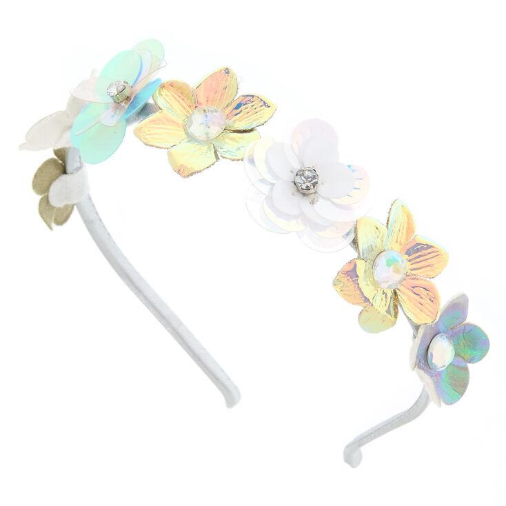 Iridescent Faux Flower Headband,