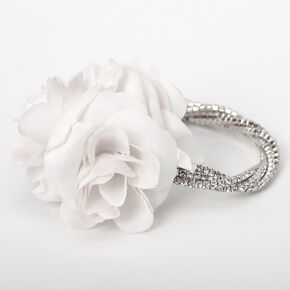 Silver Rhinestone Twisted Flower Corsage - White,