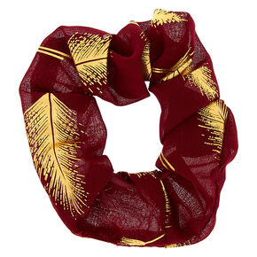 Metallic Leaf Hair Scrunchie - Burgundy Red,