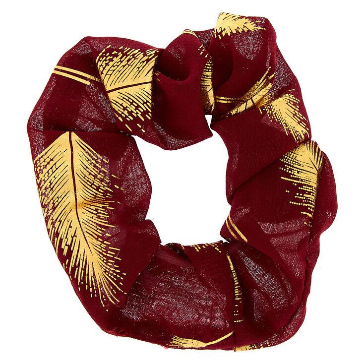 Metallic Leaf Hair Scrunchie - Burgundy Red,