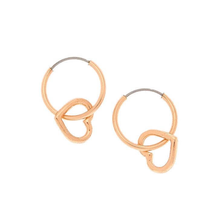 Rose Gold 12MM Heart Charm Hoop Earrings,