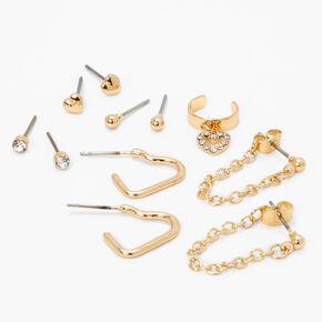 Gold Heart Chain Ear Cuff & Mixed Earrings - 6 Pack,