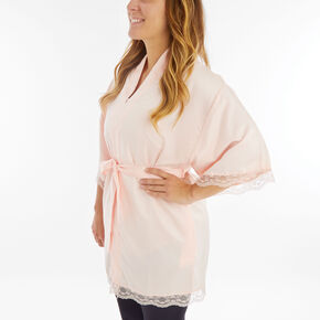 Blush Satin Lace Trim Robe - L/XL,