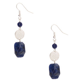 "2"" Hammered Stone Drop Earrings - Blue,"