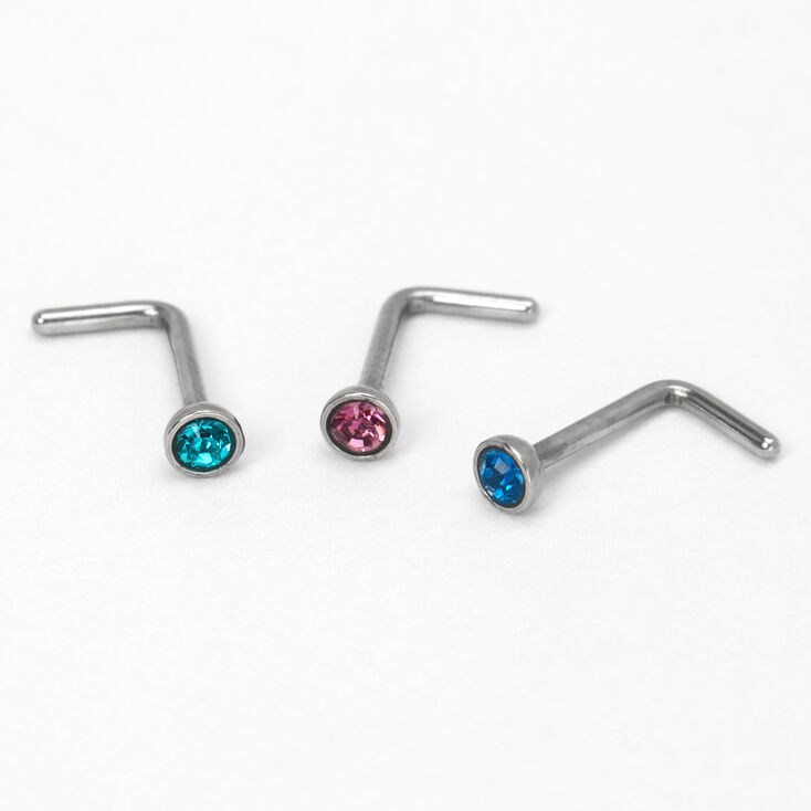 Silver 20G Mixed Round Stone Nose Studs - 3 Pack,