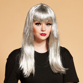 Halloween Long Silver Tinsel Wig,