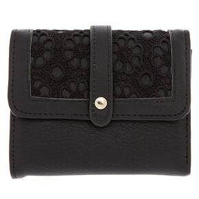 Trifold Crochet Wallet - Black,