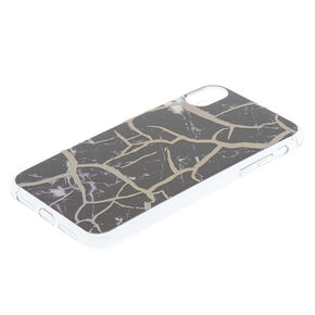 Black Cracked Marble Phone Case  - Fits iPhone XR,