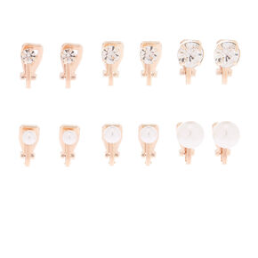 Rose Gold Clip On Stud Earrings - 6 Pack,