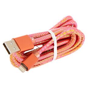 Metallic Snakeskin Textured USB Lightning Charging Cable - Orange,