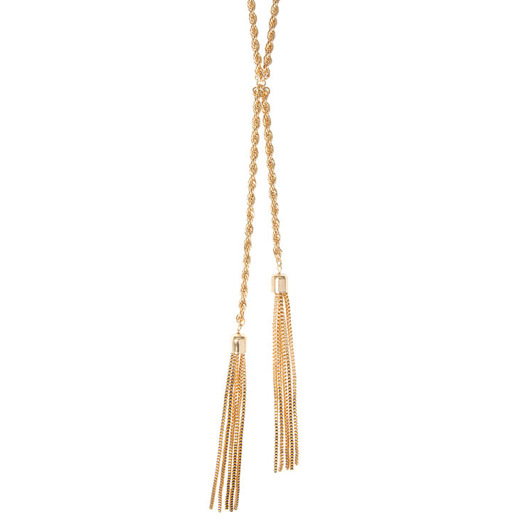 Gold Rope Chain & Tassels Lariat Necklace,