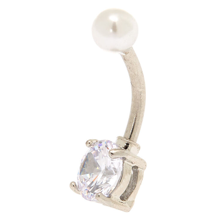 Silver 14G Pearl Top Belly Bar,