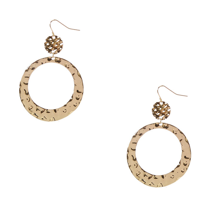 Hammered Gold Double Circle Drop Earrings,