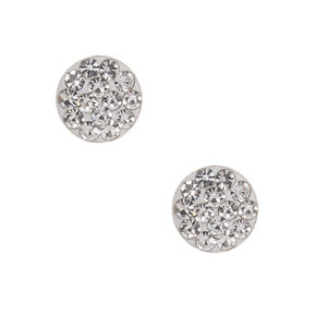 Sterling Silver Embellished Disc Stud Earrings - White,