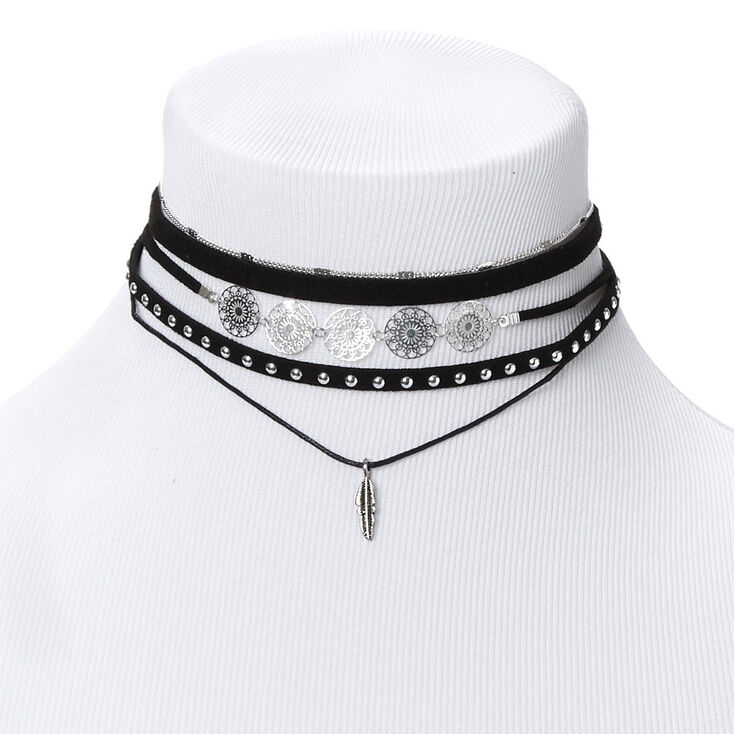 Go West Choker Necklaces - Black, 5 Pack,