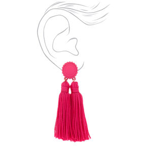 Double Tassel Drop Earrings - Hot Pink,