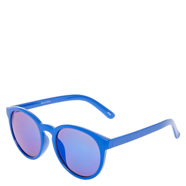 Blue Cat Eye Mirrored Sunglasses,